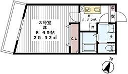 東武野田線 新鎌ヶ谷駅 徒歩5分の賃貸アパート 2階1Kの間取り