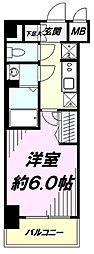 JR中央線 立川駅 徒歩8分の賃貸マンション 1階1Kの間取り