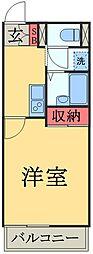 京成本線 京成佐倉駅 徒歩7分の賃貸マンション 2階1Kの間取り