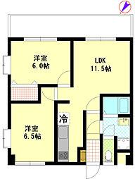 JR五日市線 秋川駅 徒歩2分の賃貸マンション 3階2LDKの間取り