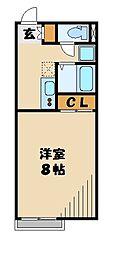 JR八高線 毛呂駅 徒歩16分の賃貸アパート 1階1Kの間取り