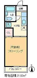 東京都北区王子2丁目の賃貸アパートの間取り