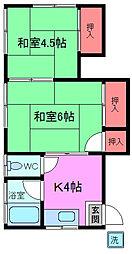 千葉県船橋市本中山3の賃貸アパートの間取り