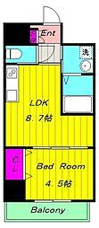 カーサクラルス 2階1LDKの間取り