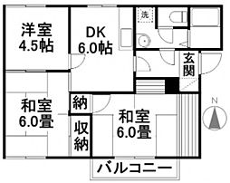 コーポ三宅 A[102号室]の間取り