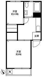三田豪徳寺コーポ[108号室]の間取り