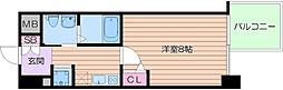 Osaka Metro谷町線 谷町九丁目駅 徒歩8分の賃貸マンション 6階1Kの間取り