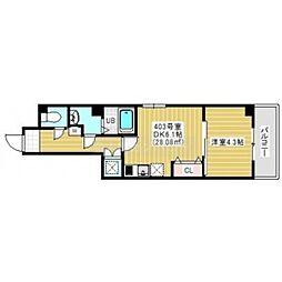 JR総武線 幕張本郷駅 徒歩2分の賃貸マンション 4階1DKの間取り