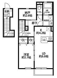 JR南武線 津田山駅 徒歩15分の賃貸アパート 2階1SLDKの間取り