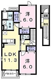 JR五日市線 東秋留駅 徒歩14分の賃貸アパート 2階2LDKの間取り