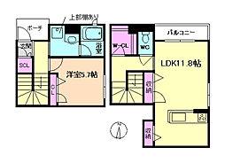 シャーメゾン・アンソレイエ 1階1LDKの間取り
