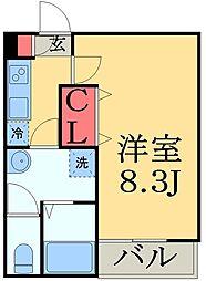 JR総武線 西千葉駅 徒歩10分の賃貸アパート 3階1Kの間取り