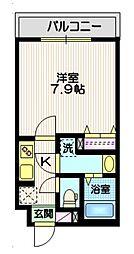 東急大井町線 戸越公園駅 徒歩8分の賃貸マンション 2階1Kの間取り
