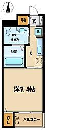 京王線 府中駅 徒歩8分の賃貸マンション 2階1Kの間取り