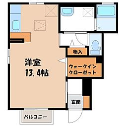 栃木県宇都宮市駒生町の賃貸アパートの間取り