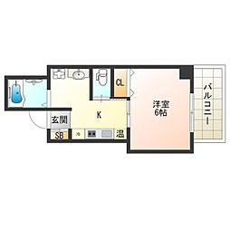 京阪電鉄中之島線 中之島駅 徒歩7分の賃貸マンション 7階1Kの間取り