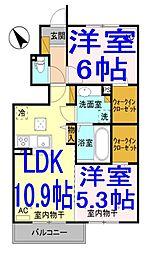 栃木県下都賀郡野木町大字潤島の賃貸アパートの間取り
