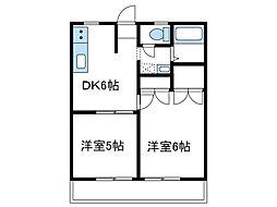 神奈川県座間市東原2の賃貸アパートの間取り