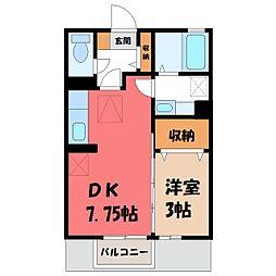 栃木県小山市大字犬塚の賃貸アパートの間取り
