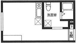 JR常磐線 北千住駅 徒歩5分の賃貸マンション 4階ワンルームの間取り