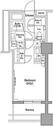 ザ・パークハビオ木場 3階ワンルームの間取り
