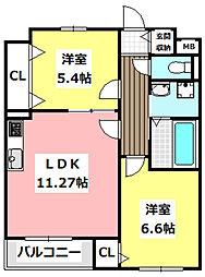 JR東海道・山陽本線 JR総持寺駅 徒歩21分の賃貸マンション 3階2LDKの間取り