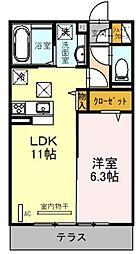 (仮)D-room東大宮6丁目 1階1LDKの間取り