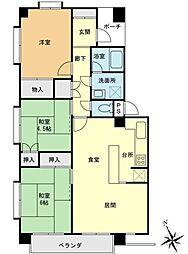 神奈川県横浜市磯子区森が丘2丁目の賃貸マンションの間取り