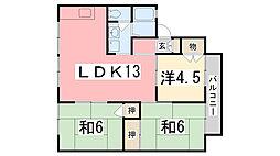 兵庫県姫路市北八代2丁目の賃貸アパートの間取り