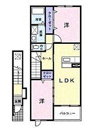埼玉県三郷市戸ケ崎3丁目の賃貸アパートの間取り