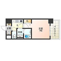 阪神なんば線 九条駅 徒歩9分の賃貸マンション 4階1Kの間取り