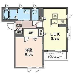 フリーデンハイム 2階1LDKの間取り