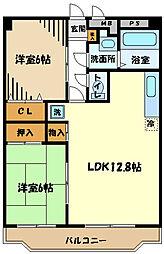 グレースマンション栄 2階2LDKの間取り
