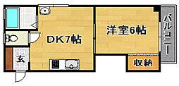 阪急京都本線 上新庄駅 徒歩8分の賃貸マンション 2階1DKの間取り