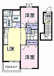 愛知県岡崎市赤渋町字落の賃貸アパートの間取り