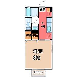 栃木県小山市若木町3丁目の賃貸アパートの間取り