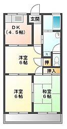 愛知県豊橋市浜道町の賃貸アパートの間取り