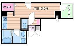 Osaka Metro谷町線 谷町四丁目駅 徒歩5分の賃貸マンション 5階ワンルームの間取り