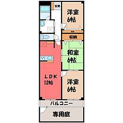 栃木県宇都宮市泉が丘6丁目の賃貸マンションの間取り