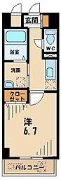 多摩都市モノレール 甲州街道駅 徒歩1分の賃貸マンション 4階1Kの間取り