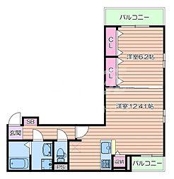 阪急千里線 千里山駅 徒歩17分の賃貸アパート 2階1LDKの間取り