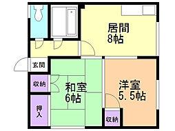 間取り,2DK,面積42.2m2,賃料3.2万円,,,北海道石狩市花川北六条2丁目5-