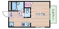 阪急千里線 関大前駅 徒歩4分の賃貸アパート 2階1Kの間取り