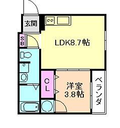 DOAHN加島 1階1LDKの間取り