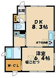 JR南武線 中野島駅 徒歩14分の賃貸アパート 1階1LDKの間取り