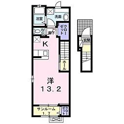 愛知環状鉄道 北野桝塚駅 徒歩7分の賃貸アパート 2階ワンルームの間取り