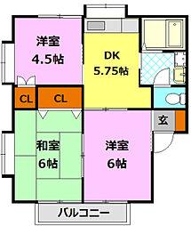 茨城県筑西市藤ケ谷の賃貸アパートの間取り
