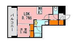 西鉄天神大牟田線 西鉄平尾駅 徒歩13分の賃貸マンション 5階1LDKの間取り