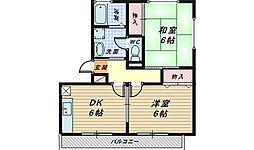 ハイカムール梅寿[3階]の間取り