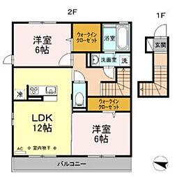 セレスティンワール A棟 2階2LDKの間取り